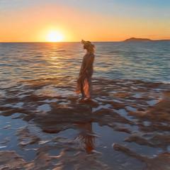 Island Girl  DSC_1586 (BlueberryAsh) Tags: chinawallsunset hawaii oahu chinawall islandgirl island ocean water hawaiingirl sunset sun rocks reflection art colour