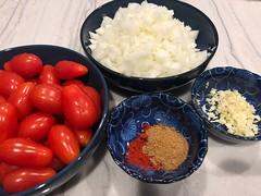 Shakshuka Ingredients (petite guerrière rouge) Tags: cookingathome food cooking shakshuka breakfast