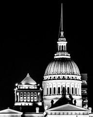 St. Louis Court Buildings (Michael Shoop) Tags: michaelshoop stlouis saintlouis missouri usa canon canon7dmarkii oldcourthouse civilcourtsbuilding night bw blackandwhite architecture