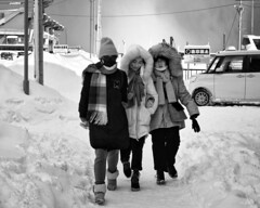 just the three of us (gro57074@bigpond.net.au) Tags: cold women candidstreet monotone monochrome mono bw blackwhite f90 2470mmf28 d850 nikon 2019 february winter hokkaido otaru japan streetphotography candid guyclift justthethreeofus