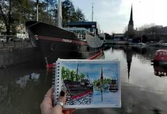 Thekla. (aniuswalker) Tags: bristol urbansketch urbansketching boat bristolian watercolor thekla harbourside drawing painting urbansketcher
