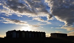 Silhouetted Beach Huts and Cloud Formation (Gilli8888) Tags: samsung s7 galaxy cameraphone northumberland harbour port sea northsea seaside coast coastline eastcoast northeast blyth blythbeach beachhuts sunrise colour sky silhouette silhouettephotography clouds
