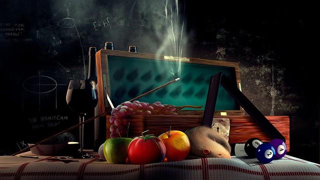 Обои крыса, помидор, рюмка, кий, бильярд, доска, шары, венок картинки на рабочий стол, фото скачать бесплатно