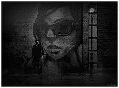 Subhuman (Loegan Magic) Tags: secondlife urban city male graffiti blackandwhite vintage streetlamp monochrome