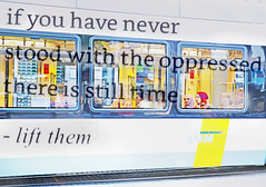 Always Stand With the Oppressed People of the World (kirstiecat) Tags: belgium ghent gent poetry poem rupikaur oppressed words literature people bus euorpe canon street multipleexposure beautiful strangers light colors colour