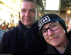 "20170105_i07 Me appearing to be photobombing Liev Schreiber by the stage door of the Booth Theatre, where he was doing ""Les liaisons dangereuses"" 