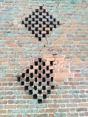 Holes in the wall (daveandlyn1) Tags: bricks brickwall wall pattern patterns britishironworkscentre queenshead nroswestry pralx1 p8lite2017 huawei smartphone psdigitalcamera cameraphone