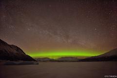 Aurora borealis and Alskan mountains (Yu Takada) Tags: alaska auroraborealis northernlights milkyway galaxy star glacier mountain spectacular beautiful