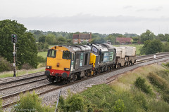 20303 and 37688 at Tibberton (6V73) 17.06.2011 (Wolfie2man) Tags: tibberton 6v73 nuclearflasks nukes glowsticks chopper tractor drs directrailservices 20303 class20 37688 class37