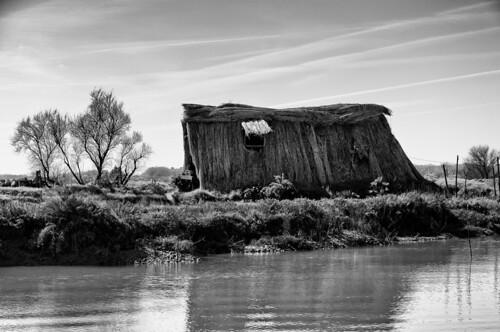Une cabane  reconstruite sur le site de