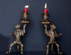 guarding the flames (verona39) Tags: macro candlesticks candle brass warriors flickrfriday flames