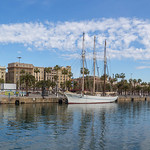 View from the wooden walkway of Rambla de Mar to the Port Vell  with its sailboats and yachts in Barcelona, on the east coast of Spain. thumbnail
