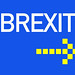 Brexit text with arrow on blue background