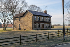 Ansalem Ballard House (?) — Madison Township, Highland County, Ohio (Pythaglio) Tags: house dwelling greenfield ohio unitedstatesofamerica us residence historic limestone stone farmhouse madisontownship highlandcounty fivebay twostory centralpassage ihouse altered chimney quaker fence trees ballard 66windows