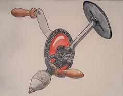 Shoulder drill (ianulimac) Tags: watercolors paint painting art draw doodle scribble oldtools yankeescrewdriver circularsaw oilcan drillbits braceandbit shoulderdrill sabresaw old antique nippers oldtimey crookedpinkiesart ianmacdonald paper