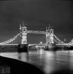 Tower bridge - London Yashica Mat 124g with Ilford FP4 plus film, developed in ilfosol 3 (35mm uk) Tags: london towerbridge yashicamat124g ilfosol3 ilford ilfordfp4plus blackandwhite analog 120mmfilm 120mm 6x6 longexposure
