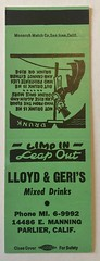 LLOYD & GERI'S MIXED DRINKS PARLIER CALIF (ussiwojima) Tags: lloydgeris bar cocktail lounge parlier california advertising matchbook matchcover