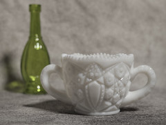 Depression Era Milk Glass sugar bowl (N.the.Kudzu) Tags: tabletop green glass bottle depressionglass milkglass sugar bowl canoneosm canoneflens lightroom