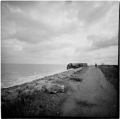 (lvw27) Tags: travel road trip france normandy film analog ilford hp5 lca 120 sea bw black white mood dark