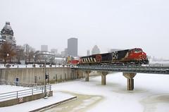 CN 149 (Michael Berry Railfan) Tags: cn canadiannational cn149 train freighttrain intermodaltrain cn2652 cn2409 ge generalelectric oldport oldmontreal portofmontreal montreal winter snow dash9 dash944cw dash8 dash840cm