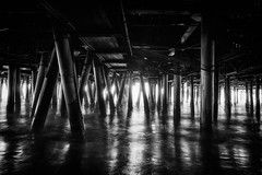 Under the Pier (azhukau) Tags: pier santamonica california usa monochrome engineering watre pacificocean coast shelf wave travel blackandwhite longexposure