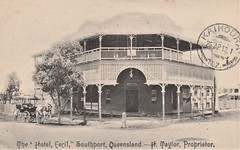 Hotel Cecil at Southport, Qld - 1912 (Aussie~mobs) Tags: 1912 hotelcecil southport queensland australia goldcoast sulky htaylor pub verandah