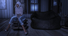 #INFJ (sinvictta) Tags: girl blond avatar game secondlife bento pose sitting beanie brows eyes head mesh jeans heels shoes sweater nude crystal necklace watch bangles nails cottage