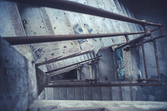 Looking Down (IAmTheSoundman) Tags: clevelandohio urbanexploring abandoned building factory sony a99 full frame m42 manualfocus stairs ladder jakebarshick urbex
