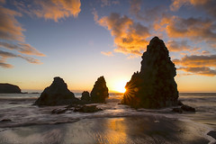 Famous rocks and a low tide sunset (milton sun) Tags: rodeobeach marincounty northerncalifornia dusk seascape bay ngc bayarea wave ocean shore seaside coast california westcoast pacificocean landscape outdoor clouds sky water rock mountain rollinghills sea sand beach cliff nature evening sunset