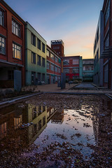 Architecture - Reflection (Bielefeld, Germany) (Jens Flachmann) Tags: bielefeld germany architecture building dawn sunrise water e sony carlzeiss batis225 availablelight reflection