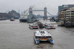 Smoke (Spannarama) Tags: thames river grey overcast hmsbelfast towerbridge toweroflondon mist winter london uk ferries ferry thamesclippers boats ship smoke