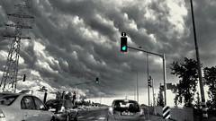 The Gray Fade Away... (Ori Liber) Tags: cloudyweather urbanlandscape vintage cars car weather winter road graysky sky grayclouds gray rainy cloud clouds traffic landscapeview landscape israelwinter israel