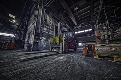Pallet Jack (Jan Fenkhuber Photography) Tags: urbex urban dark hdr photography abandoned decay exploration building light indoors rust metal industrial switzerland black red industry foundry schafisheim schweiz dirty forklift ferum