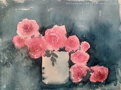 Roses.. (artanamika0621) Tags: watercolor watercolourpainting flowerpainting roses rosespainting redroses stilllife realistic