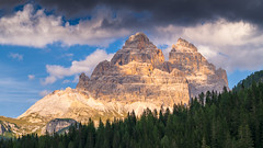 Tre Cime from Misurina (jmbillings) Tags: alpine alps cloud dolomites dolomiti dreizinnen forest lagodimisurina misurina mountain peak sky sunset trecime