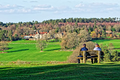The View (Croydon Clicker) Tags: bench seat people view vista house building field tree paddock hill sky cloud green blue ashdownforest eastsussex sussex