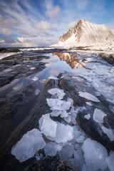 Moment of Clarity (Hilton Chen) Tags: norway tidepool landscape winter reflection lofoten ice flakstad beach vikten mountain nordland no