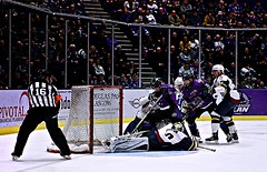 Play-off Last Ditch (matthewblackwood10) Tags: ice hockey playff eihl glasgow clan guildford flames scotland uk arena sport sports goal goaltender net stick