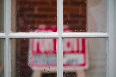 (bcostin) Tags: a7r2 biotar biotar12f58mmt carlzeissjena exakta rangefinder window pane sign red bokeh blur rain