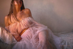 Romantic Inspiration ... (MargoLuc) Tags: dreamy mood romanticism golden light window classic me self portrait girl woman blond hair emotions pink white artisawoman