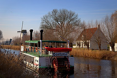 Damme 1 (Phil*ippe) Tags: damme tree house windmill boat water