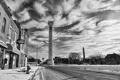 Grand Avenue and Bissell Water Towers (Mike Matney Photography) Tags: 2018 canon collegehill eos6d february midwest missouri photoflood photofloodstl stl stlouis grandavenue watertower blackandwhite monochrome sky clouds decay urbandecay bissell