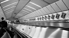 Monument Escalator - Monument (Gilli8888) Tags: newcastle newcastleupontyne cameraphone samsung s7 tyneandwear escalator geometry blackandwhite