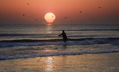 Pesca con red. (:) vicky) Tags: agua amanecer spain sol red pesca sun sunrise mar abigfave