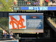Citi Field, 09/30/18 (NYM v MIA): video board graphic: the Mets have won 18 games in September for the 6th time in team history and first since 1988 (IMG_4579a) (Gary Dunaier) Tags: ballparks baseball stadiums stadia mets newyorkmets flushing queens newyorkcity queenscounty queensboro queensborough citifield
