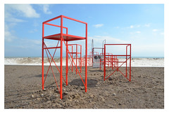 Getting ready for winter stations (mcfcrandall) Tags: toronto beach waterfront woodbinebeach red metal frames sky snow sand february winterstations outdoors 2019 publicart art installations