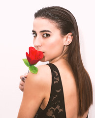 Rosa (AnabelGonzálezP) Tags: portrait retrato studio fashion shadows sombras mujer woman flor flower rosa color