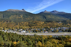 Changing of Fall - 004. (i threw a guitar at him.) Tags: alaska skagway fall autumn yellow leaves changing viewpoint view point mountain mountains dewey twin peaks town village airport air strip trees blue sky landscape wide angle