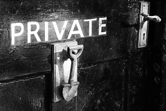 Private (alison's daily photo) Tags: private door 119picturesin2019 65119knobsandknockers monochrome blackandwhite
