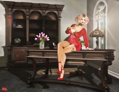 WAITING FOR THE BOSS (Rachel Swallows) Tags: bento fashion secondlife furniture decor office library